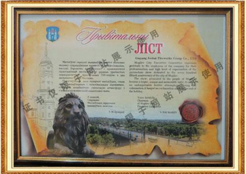 2017年白俄罗斯莫吉廖夫市独立750周年庆典焰火燃放政府勋章